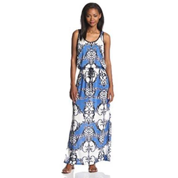 389a0d84b87 Karen Kane Blue Belted Maxi Dress w  Slits